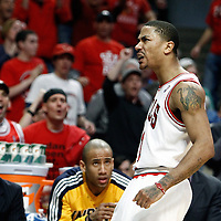 16 April 2011: CChicago Bulls point guard Derrick Rose (1) reacts during the Chicago Bulls 104-99 victory over the Indiana Pacers, during the game 1 of the Eastern Conference first round at the United Center, Chicago, Illinois, USA.