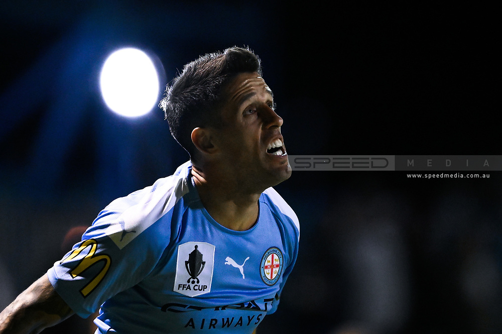 SYDNEY, AUSTRALIA - AUGUST 21: Melbourne City player Marcelo Cabrera (8) during the FFA Cup round of 16 soccer match between Marconi Stallions FC and Melbourne City FC on August 21, 2019 at Marconi Stadium in Sydney, Australia. (Photo by Speed Media/Icon Sportswire)