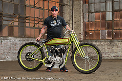 Freddie Bollwage with his 1925 Harley-Davidson J Model board track racer built by Empire Cycles, engine rebuild by Matt Walksler and raced by Carey Maynell at the Congregation Show. Charlotte, NC. USA. Saturday April 14, 2018. Photography ©2018 Michael Lichter.