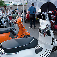 MILAN, ITALY - JUNE 05:  Vespa scooters from all over Italy in the courtyard of Museo della Scienza e della Tecnica before the start of the Vespa race on June 5, 2010 in Milan, Italy. Vespa is one of the best known Italian icons, the special Vespa weekend is the XV edition of the famous  500km night race  (Photo by Marco Secchi/Getty Images)