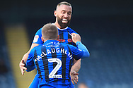GOAL Aaron Wilbraham celebrates scoring 1-0  during the EFL Sky Bet League 1 match between Rochdale and Scunthorpe United at Spotland, Rochdale, England on 23 March 2019.