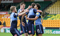 Scott Kashket of Wycombe Wanderers celebrates scoring to make it 1-1 - Mandatory by-line: Arron Gent/JMP - 24/10/2020 - FOOTBALL - Carrow Road - Norwich, England - Norwich City v Wycombe Wanderers - Sky Bet Championship