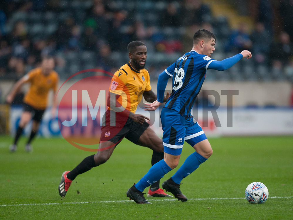 Abu Ogogo of Bristol Rovers (L) and Aaron Morley of Rochdale battle for the ball - Mandatory by-line: Jack Phillips/JMP - 02/11/2019 - FOOTBALL - Crown Oil Arena - Rochdale, England - Rochdale v Bristol Rovers - English Football League One