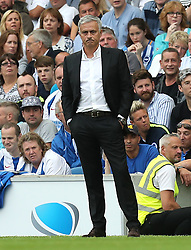 Manchester United manager Jose Mourinho on the touchine during the Premier League match at the AMEX Stadium, Brighton.
