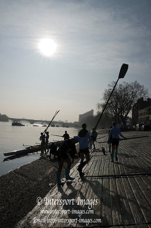 Putney. London. Cambridge Blue Boat, boating for their early morning training outing. Tideway Week, build up to the  2011 University Boat Race over parts of the Championship Course - Putney to Mortlake. Thursday  24/03/2011 [Mandatory Credit; Peter Spurrier/Intersport-images]..Cambridge (from bow): Mike THORP (GB), Joel JENNINGS (GB), Dan RIS-STANDING (GB), Hardy CUBAUSH (Aus), George NASH (GB), Geoff ROTH (Can), Derek RASMUSSEN (US), David NELSON (Aus), Cox: Liz BOX (GB) 2011 Tideway Week