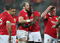 Rugby Union - 2017 British & Irish Lions Tour of New Zealand - Second Test: New Zealand vs. British & Irish Lions<br /> <br /> Alun Wyn Jones and Maro Itoje of The British and Irish Lions hug at Westpac Stadium, Wellington.<br /> <br /> COLORSPORT/LYNNE CAMERON