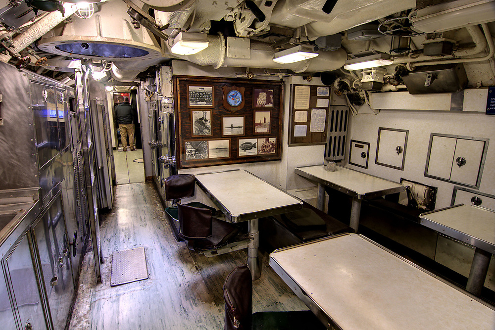 The Mess Hall and Kitchen on the USS Clamagore SS-343 at the Patriots Point Naval Maritime Museum in Mt. Pleasant, SC on Saturday, February 28, 2015. Copyright 2015 Jason Barnette<br /> <br /> Patriots Point is a popular tourist attraction located along the Cooper River. The site serves as the home of the USS Yorktown aircraft carrier, USS Clamagore submarine, and USS Laffey destroyer. The museum also features a gift shop, the Vietnam War Experience, and boat tours to Fort Sumter.