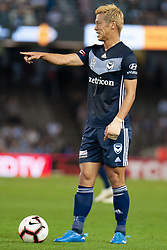 February 23, 2019 - Melbourne, VIC, U.S. - MELBOURNE, VIC - FEBRUARY 23: Melbourne Victory midfielder Keisuke Honda (4) gestures prior to a free kick at round 20 of the Hyundai A-League Soccer between Melbourne City FC and Melbourne Victory on February 23, 2019 at Marvel Stadium, VIC. (Photo by Speed Media/Icon Sportswire) (Credit Image: © Speed Media/Icon SMI via ZUMA Press)