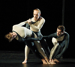 Nearly Ninety<br /> The Merce Cunningham Dance Company <br /> choreography by Merce Cunningham<br /> at The Barbican Theatre, London, Great Britain <br /> rehesrsal <br /> 26th October 2010 <br /> <br /> John Hinrichs<br /> <br /> Jamie Scott<br /> <br /> Silas Riener<br /> <br /> Photograph by Elliott Franks<br /> 2010©Elliott Franks