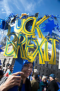 Hundreds of thousands of people protest in the Unite for Europe March on Parliament against Brexit demonstration on 25th March 2017 in London, United Kingdom. The march in the capital brings together protesters from all over the country, angry at the fact that Article 50 will be invoked and to listen to the 48 percent of British voters who voiced against Brexit. Since the vote was announced, there have been demonstrations, protests and endless political comment in all forms of media. Half of the country very displeased with the result and the prospect of being taken out of the European Union against their will, and with uncertainty as to what will happen next in the politics surrounding the exit from Europe. A woman holds a sign saying Fuck Brexit
