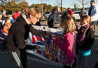 Pleasant Street School walk to school day.   Karen Bobotas / for the Laconia Daily Sun