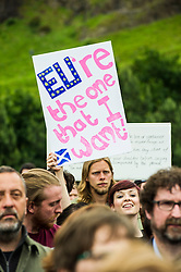 Pictured: <br /> Thousands of people gathered outside the Scottish Parliament to demonstrate for Scotland to remain part of EU. Young and old gathered in support of the European Movement Edinburgh  whoorganised the event inthe wake of the vote to leave<br /> <br /> <br /> Ger Harley   EEm 29 June 2016