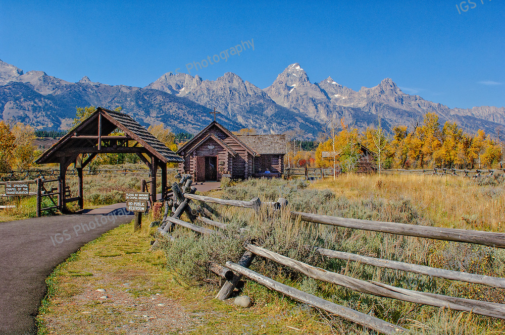 Historic Chapel of the Transfiguration built by early settlers in the area that is now Grand Teton National Park