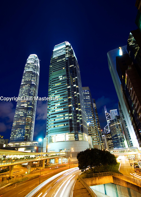 Skyscrapers and highway at night in Central district of Hong Kong