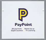 Close up of Paypoint sign, UK