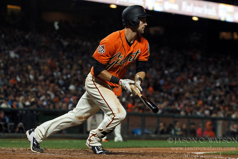 SAN FRANCISCO, CA - JULY 13: Steven Duggar #6 of the San Francisco Giants hits a two run double against the Oakland Athletics during the seventh inning at AT&T Park on July 13, 2018 in San Francisco, California. The San Francisco Giants defeated the Oakland Athletics 7-1. (Photo by Jason O. Watson/Getty Images) *** Local Caption *** Steven Duggar