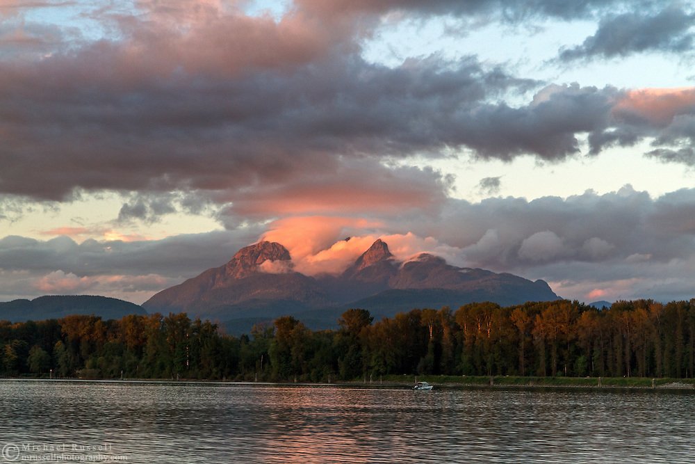 Mount Blanshard (The Golden Ears) and the Fraser River at sunset from Brae Island Regional Park in Langley, British Columbia, Canada