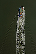 Aerial view of barge in the Intracoastal Waterway Sullivan's Island, SC.