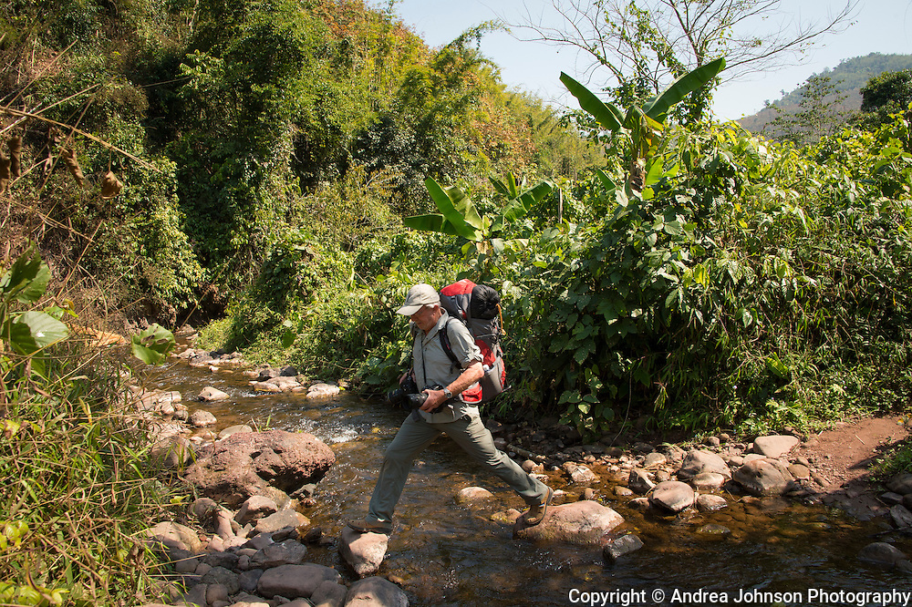 Stream crossings during 4 day trek with Green Discovery guides in Nam Ha National Protected Area, Luang Namtha, Northern Laos near the Chinese border