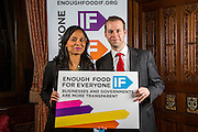 Rushanara Ali MP and Jonathan Reynolds MP supporting the Enough Food for Everyone?IF campaign. .MP's and Peers attended the parliamentary launch of the IF campaign in the State Rooms of Speakers House, Palace of Westminster. London, UK.