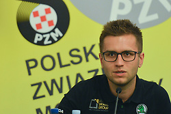 September 21, 2018 - Mikolajki, Poland - Mikolaj Marczyk, a Polish rally driver, at the pre-rally press conference on day one of the PZM 75th Rally Poland, in Hotel GoÅ'Ä™biewski, Mikolajki..On Friday, September 21, 2018, in Mikolajki, Poland. (Credit Image: © Artur Widak/NurPhoto/ZUMA Press)