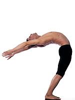 caucasian man stretching gymnastic balance isolated studio on white background