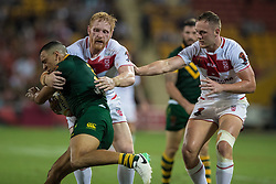 December 2, 2017 - Brisbane, Australie - James Graham of England tackles during the Rugby League World Cup Men s Final match between Australia and England at Brisbane Stadium, Brisbane, Australia on 2 December 2017. (Credit Image: © Panoramic via ZUMA Press)