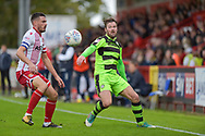 Forest Green Rovers Scott Laird(3) keeps the ball in play during the EFL Sky Bet League 2 match between Stevenage and Forest Green Rovers at the Lamex Stadium, Stevenage, England on 21 October 2017. Photo by Adam Rivers.