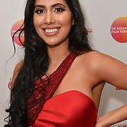 Nisha Aaliya attends the UK Asian Film Festival closing flame awards gala - Red Carpet at BAFTA 195 Piccadilly, on 7 April 2019, London, UK