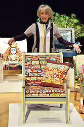 © Licensed to London News Pictures. 29/02/2016. MAUREEN LIPMAN attends the Bonham's Chair Auction for Chiva African Aids Charity. Maureen designed a chair with a seaside beach theme . London, UK. Photo credit: Ray Tang/LNP