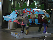 """""""Sci-Fi Swine"""" is a fanciful pig sculpture by Jules Anslow located at the base of the Space Needle, Seattle, Washington, USA."""