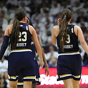 Sister Marina Mabrey, (right) and Michaela Mabrey, Notre Dame, in action during the Notre Dame Vs UConn Women's Basketball game at Grampel Pavilion, Storrs, Connecticut, USA. 5th December 2015. Photo Tim Clayton