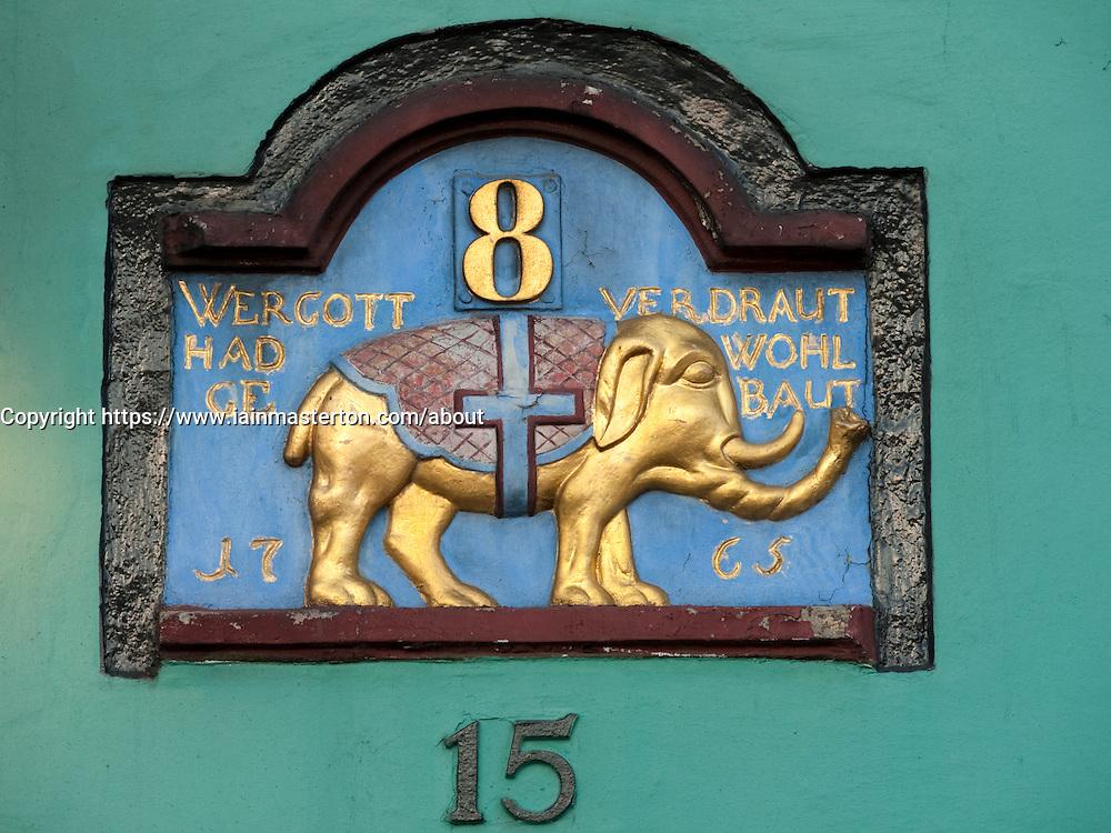 Detail of old sign on wall of building on Nyhavn in Copenhagen in Denmark
