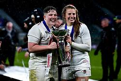 Hannah Botterman and Zoe Harrison of England Women celebrate winning the Women's Six Nations and Grand Slam - Mandatory by-line: Robbie Stephenson/JMP - 16/03/2019 - RUGBY - Twickenham Stadium - London, England - England Women v Scotland Women - Women's Six Nations