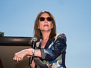 09 AUGUST 2019 - DES MOINES, IOWA: MARIANNE WILLIAMSON speaks at the Iowa State Fair. Williamson, an author and activist, is running for the Democratic nomination for the US Presidency in 2020. She spoke at the Des Moines Register Political Soapbox at the Iowa State Fair Friday. Iowa hosts the the first election event of the presidential election cycle. The Iowa Caucuses will be on Feb. 3, 2020.          PHOTO BY JACK KURTZ