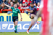 Leeds Rhinos centre Kallum Watkins (3) with a conversion  during the Betfred Super League match between Hull Kingston Rovers and Leeds Rhinos at the Lightstream Stadium, Hull, United Kingdom on 29 April 2018. Picture by Simon Davies.