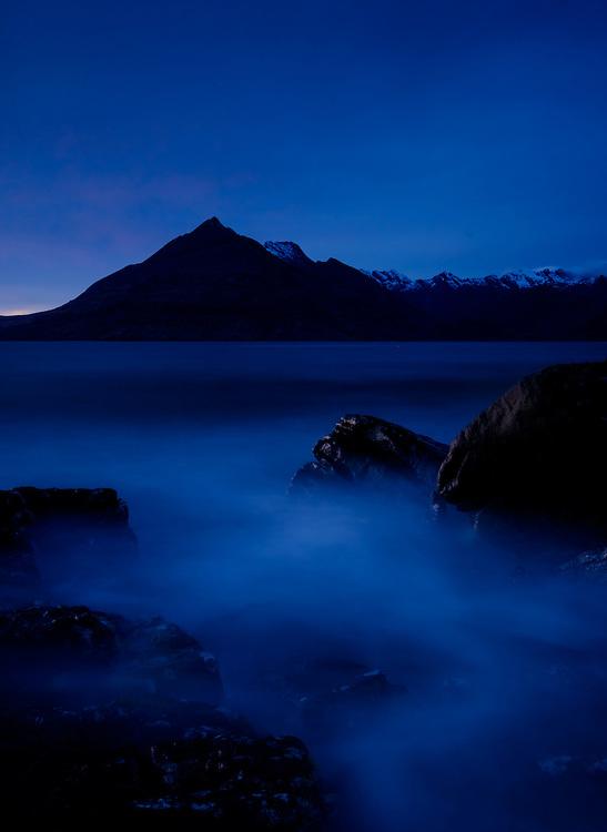 SCOTLAND - CIRCA APRIL 2016: Twilight over Elgol in Skye an Island in Scotland
