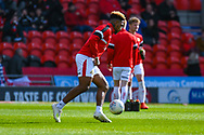 Mallik Wilks of Doncaster Rovers (7) warming up during the EFL Sky Bet League 1 match between Doncaster Rovers and Coventry City at the Keepmoat Stadium, Doncaster, England on 4 May 2019.