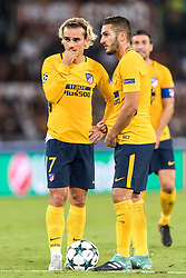 (L-R) Antoine Griezmann of Club Atletico de Madrid, Koke of Club Atletico de Madrid during the UEFA Champions League group C match match between AS Roma and Atletico Madrid on September 12, 2017 at the Stadio Olimpico in Rome, Italy.