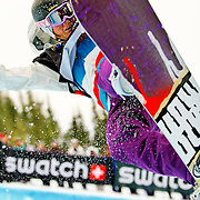 French National Snowboard Team member Anne-Sophie Pellissier competes in the half pipe during qualifying at the 2009 LG Snowboard FIS World Cup at Cypress Mountain, British Columbia, on February 16th, 2009. Pellissier finished 11th in the field of 45.