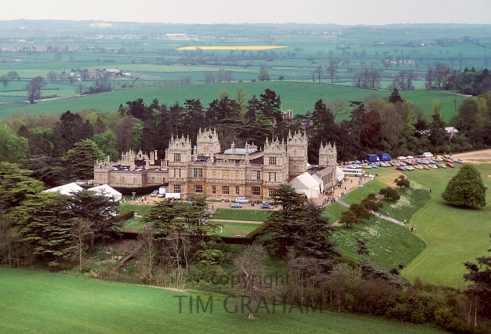 Aerial view of Mentmore Towers stately home with marquees where Sothebys conducts auction of contents, Buckinghamshire in 1977, UK