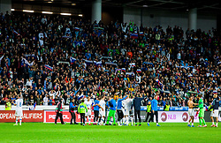 Players of Slovenia celebrate after winning during the 2020 UEFA European Championships group G qualifying match between Slovenia and Israel at SRC Stozice on September 9, 2019 in Ljubljana, Slovenia. Photo by Ziga Zupan / Sportida