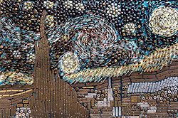 April 30, 2017 - Bethesda, Maryland, U.S. -  Affixed to a wall outside the Union Hardware store is a 2011 homage to Vincent van Gogh's 'Starry Night' created by store co-owner David Goldberg.  He employed over 1,250 door knobs, levers and back plates to fashion this loving recreation.(Credit Image: © Brian Cahn via ZUMA Wire)