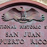USA, Puerto Rico, San Juan. Plaque of San Juan Mational Historic Site.