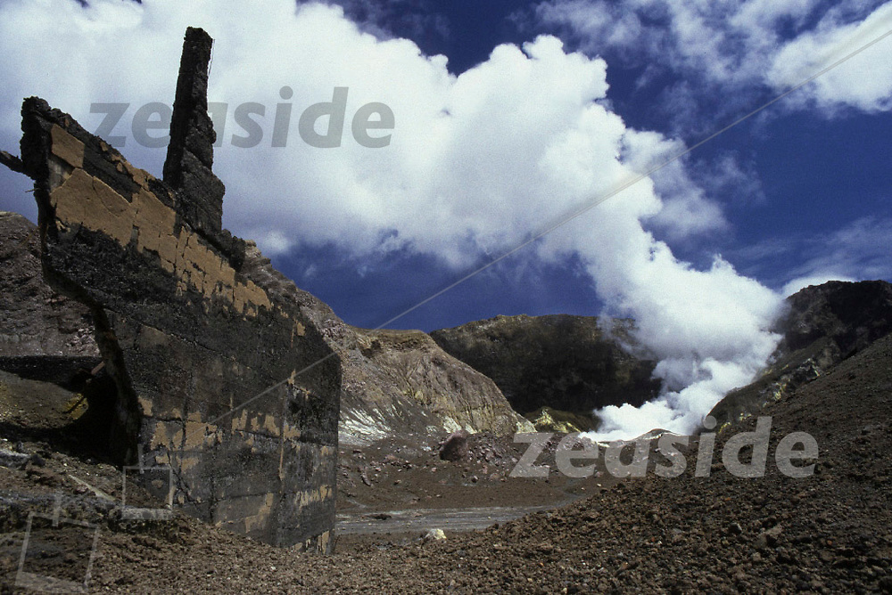 Remainders and structures of the Sulphur Works on White Island. The small settlement, including the Sulphur factory were destroyed when a major eruption blew away the entire eastern wall of the main crater.