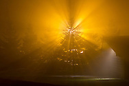 Middletown, New York - Bright lights shine through the fog on the night of Oct. 4, 2012