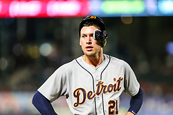 May 7, 2018 - Arlington, TX, U.S. - ARLINGTON, TX - MAY 07: Detroit Tigers center fielder JaCoby Jones (21) waits for a call from the dugout during the game between the Texas Rangers and the Detroit Tigers on May 07, 2018 at Globe Life Park in Arlington, Texas. Texas defeats Detroit 7-6. (Photo by Matthew Pearce/Icon Sportswire) (Credit Image: © Matthew Pearce/Icon SMI via ZUMA Press)