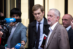 © Licensed to London News Pictures. 12/07/2016. London, UK. Leader of the Labour Party JEREMY CORBYN leaves Labour HQ after a National Executive Committee meeting, which concluded that the Labour leader is automatically included in the ballot. Photo credit : Tom Nicholson/LNP