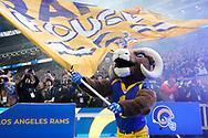 LA Rams mascot, Rampage Rams and Cincinnati Bengals at Wembley Stadium, London, England on 27 October 2019.