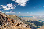 View of Parker Pass looking eastward from the side of Parker Peak, with a view of Mono Lake in the distance; Ansel Adams Wilderness, Inyo National Forest, Sierra Nevada Mountains, California, USA.